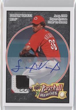 2008 Upper Deck Baseball Heroes Black Autograph Patch [Autographed] #69 - Edinson Volquez /25