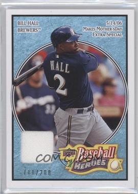 2008 Upper Deck Baseball Heroes Light Blue Memorabilia #129 - Bill Hall /200