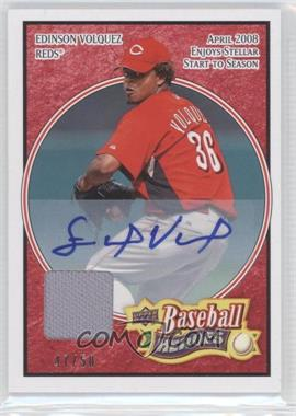 2008 Upper Deck Baseball Heroes Red Autograph Memorabilia [Autographed] #69 - Edinson Volquez /50