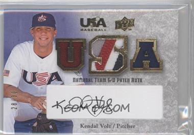 2008 Upper Deck USA Baseball Teams Box Set National Team Game-Used Jersey Black Ink Autographed [Autographed] #NT-KV - Kendal Volz /30