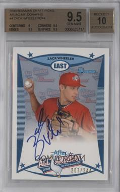 2009 Bowman Draft Picks & Prospects - Aflac All-American Autograph #AFLAC-ZW - Zack Wheeler /244 [BGS9.5]