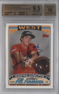 2009 Bowman Draft Picks & Prospects Aflac All-American Certified Autographs [Autographed] #AFLAC-SS - Sequoyah Stonecipher [BGS 9.5]