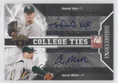 2009 Donruss Elite Extra Edition College Ties Signatures #9 - Kendal Volz, Aaron Miller /50