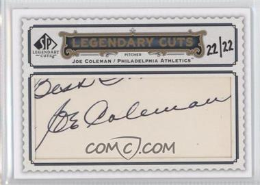 2009 SP Legendary Cuts Legendary Cuts #LC-113 - Joe Coleman /22
