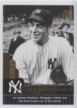2009 SPx - Joe DiMaggio Career Highlights #JD-92 - Joe DiMaggio /425