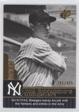 2009 SPx Joe DiMaggio Career Highlights #JD-60 - Joe DiMaggio /425