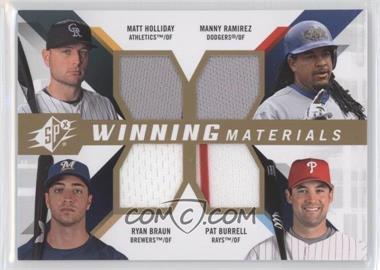 2009 SPx Winning Materials 4 #WM4-HRBB - Matt Holliday, Manny Ramirez, Pat Burrell, Ryan Braun