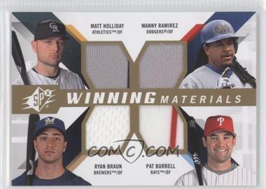 2009 SPx Winning Materials Quads #WM4-HRBB - Matt Holliday, Ryan Braun, Pat Burrell, Manny Ramirez