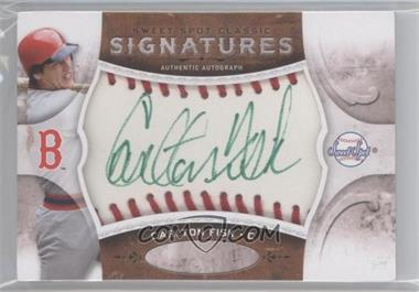 2009 Sweet Spot Signatures Classic White Ball Red Stitch Green Ink #SC-CF - Carlton Fisk