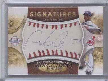 2009 Sweet Spot Signatures White Ball Red Stitch Blue Ink #S-FC - Fausto Carmona /300