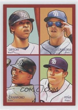2009 Upper Deck Goudey 4-in-1 Red #35-35 - B.J. Upton, Evan Longoria, Carl Crawford, Carlos Pena