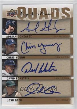 2009 Upper Deck Signature Stars Signature Quads #S4-GYEG - Adrian Gonzalez, David Eckstein, Chris Young, Josh Geer /30