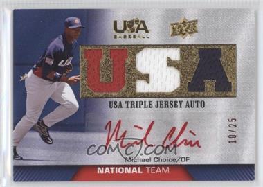 2009 Upper Deck USA Baseball - Box Set Triple Jersey National Team - Autograph Red Ink [Autographed] #TJANT-MC - Michael Choice /25