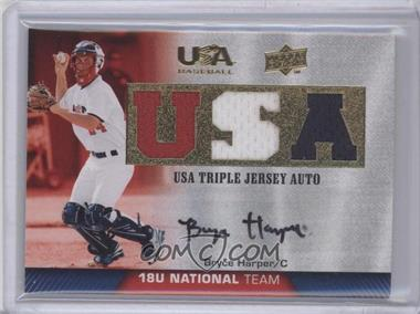 2009 Upper Deck USA Baseball Box Set Triple Jersey 18U National Team Autograph [Autographed] #TJA18U-BH - Bryce Harper