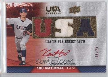 2009 Upper Deck USA Baseball Box Set Triple Jersey 18U National Team Autograph Red Ink [Autographed] #TJA18U-KW - Karsten Whitson /25