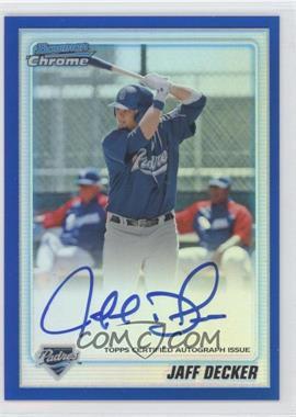 2010 Bowman Chrome - Prospects - Blue Refractor Autographs [Autographed] #BCP109 - Jaff Decker /150