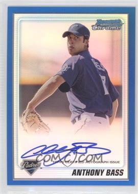 2010 Bowman Chrome - Prospects - Blue Refractor Autographs [Autographed] #BCP212 - Anthony Bass /150