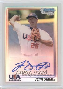 2010 Bowman Chrome USA Stars Refractors Autographs [Autographed] #USA-JS - John Simms /199