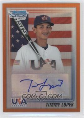 2010 Bowman Draft Picks & Prospects USA Team Certified Autograph Orange Refractor [Autographed] #USAA-11 - Timmy Lopes /25