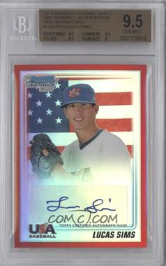 2010 Bowman Draft Picks & Prospects USA Team Certified Autograph Red Refractor [Autographed] #USAA-19 - Lucas Sims /5 [BGS9.5]