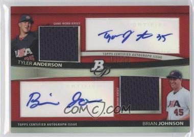 2010 Bowman Platinum - Dual Autograph & Relic Refractor - Red #BPDAR-AJ - Tyler Anderson, Brian Johnson /10