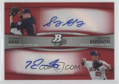 2010 Bowman Platinum - Dual Autograph Refractor - Red #BPDA-GE - Sonny Gray, Jason Esposito /10