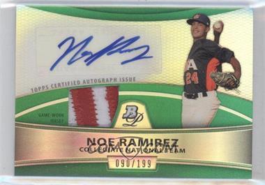 2010 Bowman Platinum Autographed Relic Green Refractor [Autographed] #PAR-N/A - Noe Ramirez /199
