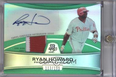 2010 Bowman Platinum Autographed Relic Green Refractor [Autographed] #PAR-RH - Ryan Howard /199