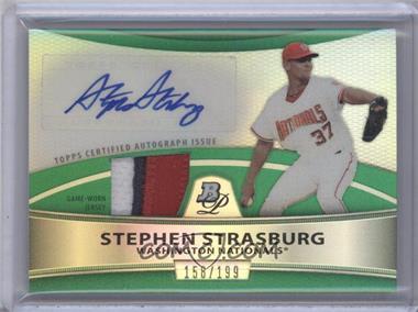 2010 Bowman Platinum Autographed Relic Green Refractor #PAR-55 - Stephen Strasburg /199