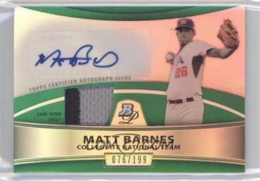2010 Bowman Platinum Autographed Relic Green Refractor #PAR-MB - Matt Barnes /199