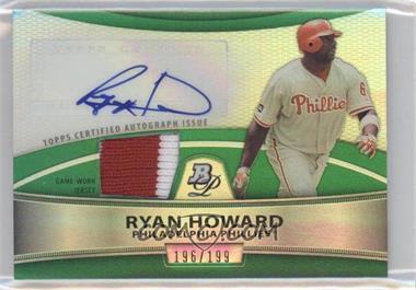 2010 Bowman Platinum Autographed Relic Green Refractor #PAR-RH - Ryan Howard /199