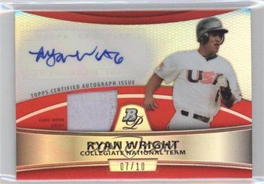 2010 Bowman Platinum Autographed Relic Red Refractor #PAR-RW - Ryan Wright /10