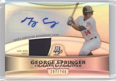 2010 Bowman Platinum Autographed Relic Refractor [Autographed] #PAR-GS - George Springer /740