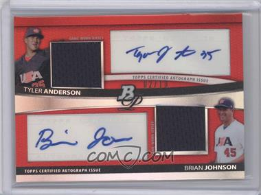 2010 Bowman Platinum Dual Autograph & Relic Red Refractor #BPDAR-AJ - Tyler Anderson, Brian Johnson /10