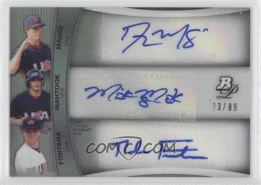 2010 Bowman Platinum Triple Autograph Refractor #BPTA-MMF - Nolan Fontana, Mikie Mahtook, Andrew Maggi /89