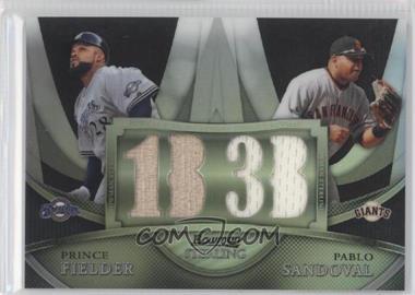 2010 Bowman Sterling - Box Topper Dual Relics - Black Refractor #BL-6 - Prince Fielder, Pablo Sandoval /25