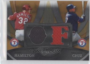 2010 Bowman Sterling Box Topper Dual Relics Gold Refractor #BL-8 - Josh Hamilton, Nelson Cruz /50