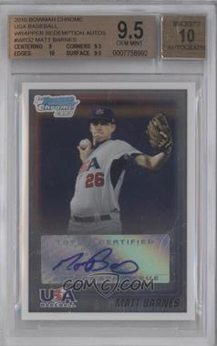 2010 Bowman Wrapper Redemption USA Buyback Certified Autographs [Autographed] #WR32 - Matt Barnes /99 [BGS 9.5]