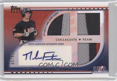 2010 Topps USA Baseball Team - Autograph Relics - Patches #USAAR-NF - Nolan Fontana /50
