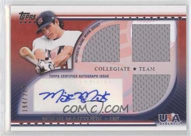 2010 Topps USA Baseball Team - Autograph Relics #USAAR-MM - Mikie Mahtook /219
