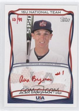 2010 Topps USA Baseball Team Autographs Red Ink #A-TBD - Alex Bregman /99