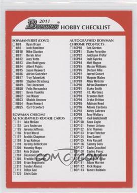 2011 Bowman - Hobby Checklists #4 - Checklist /500