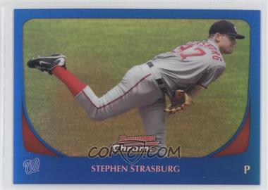 2011 Bowman Chrome Blue Refractor #159 - Stephen Strasburg /150
