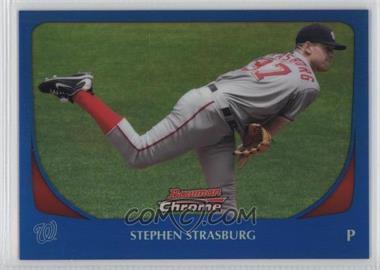 2011 Bowman Chrome Blue Refractor #159 - Stephen Strasburg /150