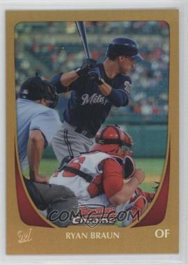 2011 Bowman Chrome Gold Refractor #156 - Ryan Braun /50