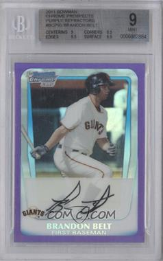 2011 Bowman Chrome Multi-Product Insert [Base] Purple Refractor #BCP93 - Brandon Belt /700 [BGS 9]