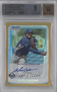 2011 Bowman Chrome Prospects Certified Autographs Gold Refractor #BCP161 - Alex Colome /50 [BGS 9]