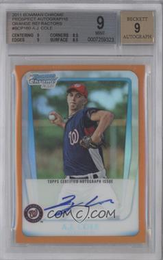 2011 Bowman Chrome Prospects Certified Autographs Orange Refractor #BCP160 - A.J. Cole /25 [BGS 9]