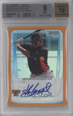 2011 Bowman Chrome Prospects Certified Autographs Orange Refractor #BCP178 - Starling Marte /25 [BGS 9]