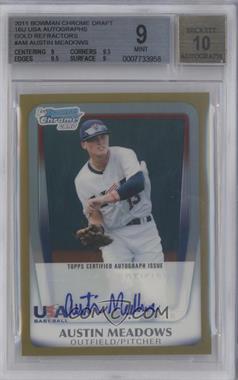 2011 Bowman Draft Picks & Prospects - USA 16U National Team Autograph - Gold Refractor #AA-AM - Austin Meadows /50 [BGS9]